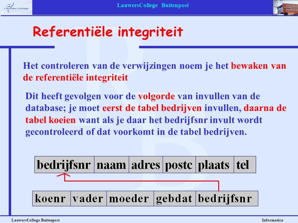 LauwersCollege Buitenpost LauwersCollege Buitenpost Informatica Het controleren van de verwijzingen noem je het bewaken van de referentiële integritei