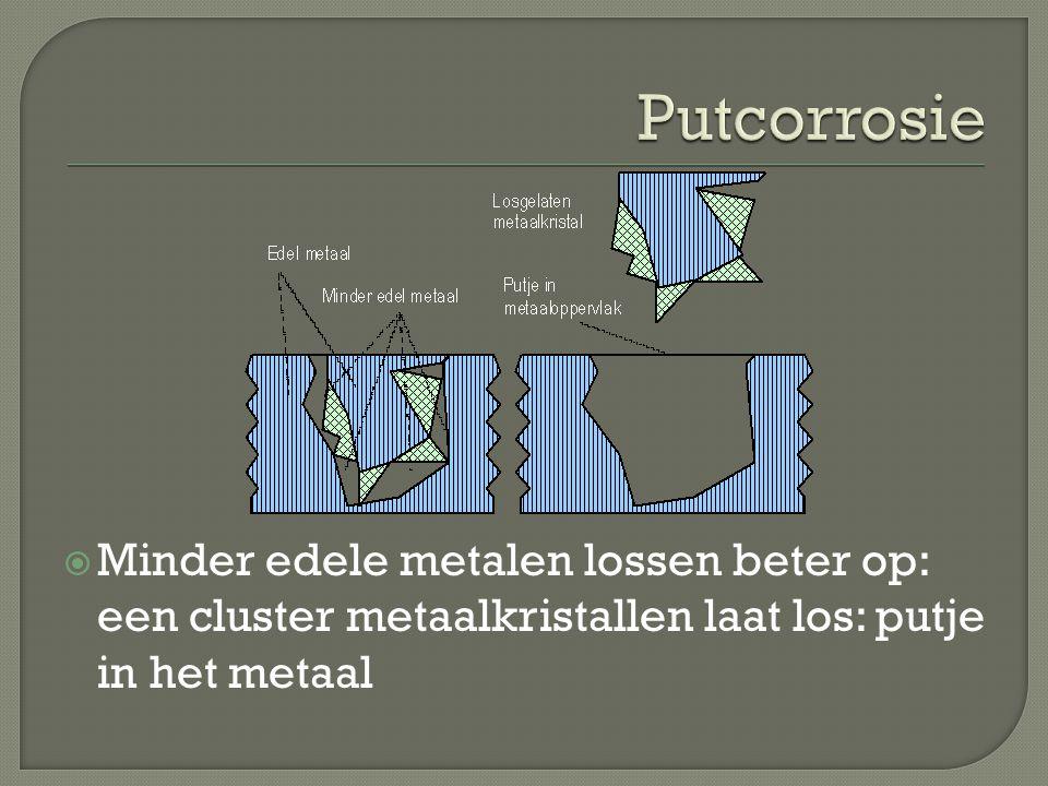  Minder edele metalen lossen beter op: een cluster metaalkristallen laat los: putje in het metaal