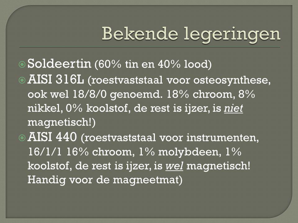  Soldeertin (60% tin en 40% lood)  AISI 316L (roestvaststaal voor osteosynthese, ook wel 18/8/0 genoemd. 18% chroom, 8% nikkel, 0% koolstof, de rest