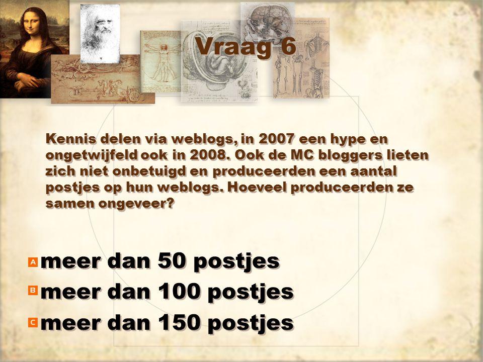 Vraag 6 meer dan 50 postjes meer dan 100 postjes meer dan 150 postjes meer dan 50 postjes meer dan 100 postjes meer dan 150 postjes Kennis delen via weblogs, in 2007 een hype en ongetwijfeld ook in 2008.