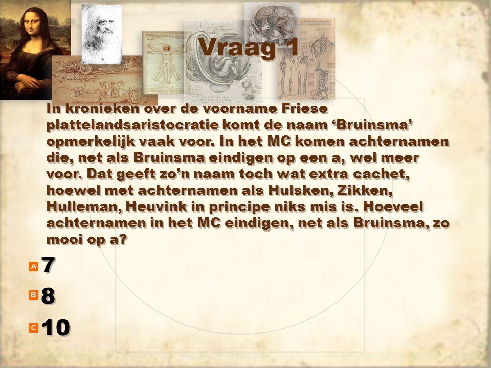 Vraag 1 7 8 10 7 8 In kronieken over de voorname Friese plattelandsaristocratie komt de naam 'Bruinsma' opmerkelijk vaak voor. In het MC komen achtern