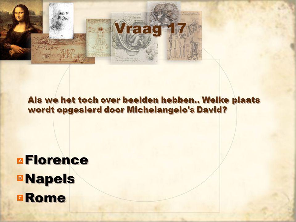 Vraag 17 Florence Napels Rome Florence Napels Rome Als we het toch over beelden hebben.. Welke plaats wordt opgesierd door Michelangelo's David?