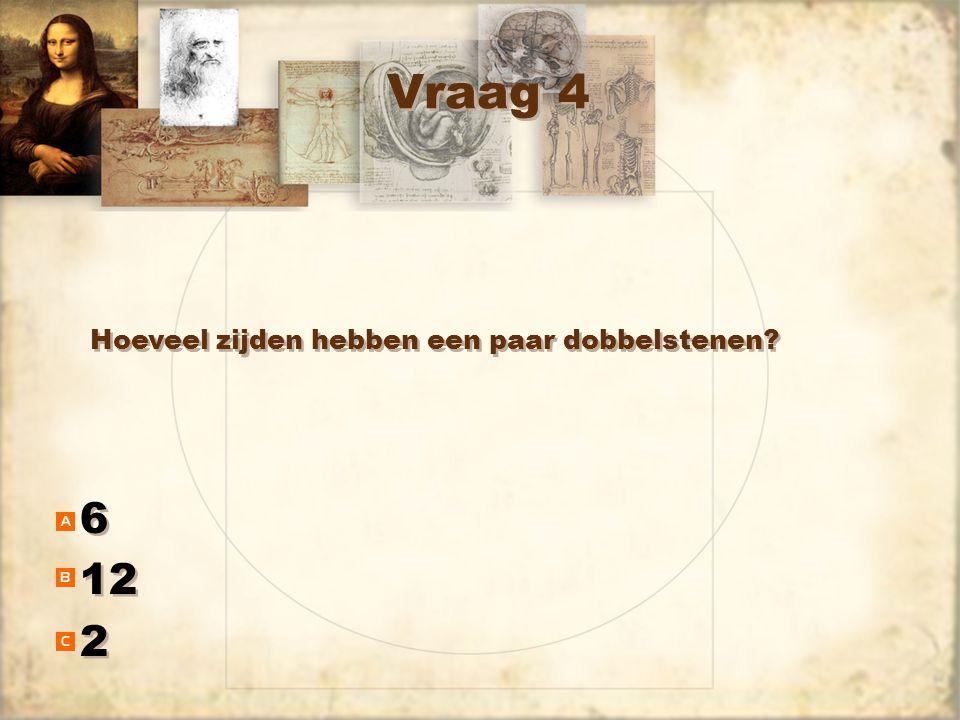 Vraag 4 6 12 2 6 12 2 Hoeveel zijden hebben een paar dobbelstenen?