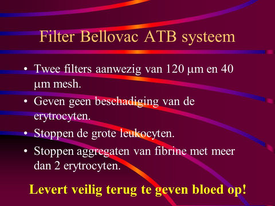 Gefilterd bloed Is vrij van fibrine Is vrij van grote cellen (granulocyten en andere grote leukocyten) Is vrij van embolieën Maar dat hangt af van de