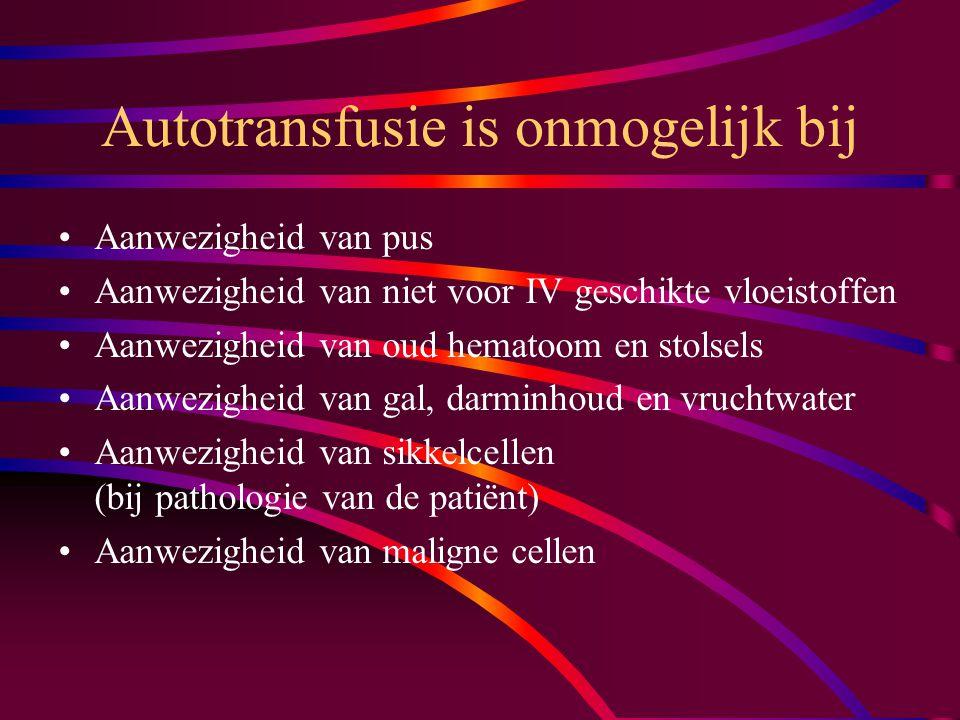 Autotransfusie is onmogelijk bij Aanwezigheid van pus Aanwezigheid van niet voor IV geschikte vloeistoffen Aanwezigheid van oud hematoom en stolsels Aanwezigheid van gal, darminhoud en vruchtwater Aanwezigheid van sikkelcellen (bij pathologie van de patiënt) Aanwezigheid van maligne cellen