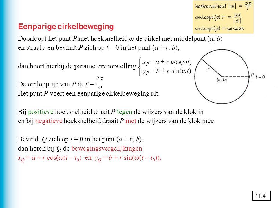 Eenparige cirkelbeweging Doorloopt het punt P met hoeksnelheid ω de cirkel met middelpunt (a, b) en straal r en bevindt P zich op t = 0 in het punt (a + r, b), dan hoort hierbij de parametervoorstelling De omlooptijd van P is T = Het punt P voert een eenparige cirkelbeweging uit.