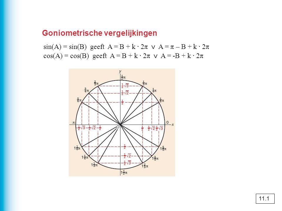 Goniometrische vergelijkingen sin(A) = sin(B) geeft A = B + k · 2π ⋁ A = π – B + k · 2π cos(A) = cos(B) geeft A = B + k · 2π ⋁ A = -B + k · 2π 11.1