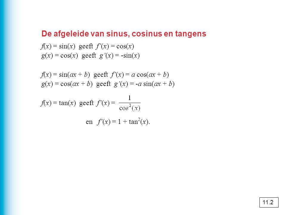 De afgeleide van sinus, cosinus en tangens f(x) = sin(x) geeft f'(x) = cos(x) g(x) = cos(x) geeft g'(x) = -sin(x) f(x) = sin(ax + b) geeft f'(x) = a cos(ax + b) g(x) = cos(ax + b) geeft g'(x) = -a sin(ax + b) f(x) = tan(x) geeft f'(x) = en f'(x) = 1 + tan 2 (x).