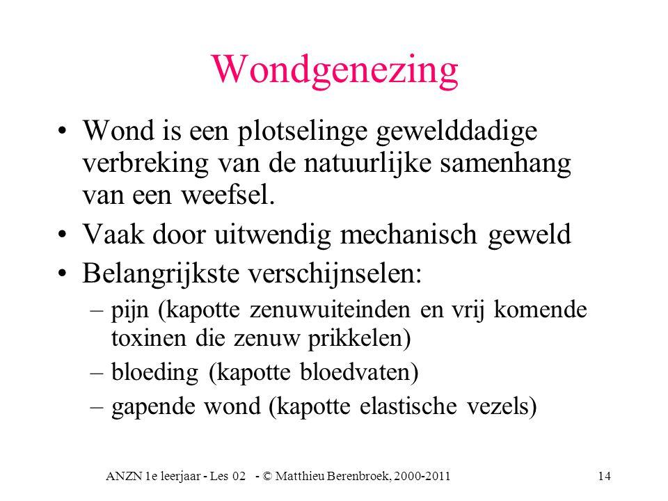 ANZN 1e leerjaar - Les 02 - © Matthieu Berenbroek, 2000-201114 Wondgenezing Wond is een plotselinge gewelddadige verbreking van de natuurlijke samenha