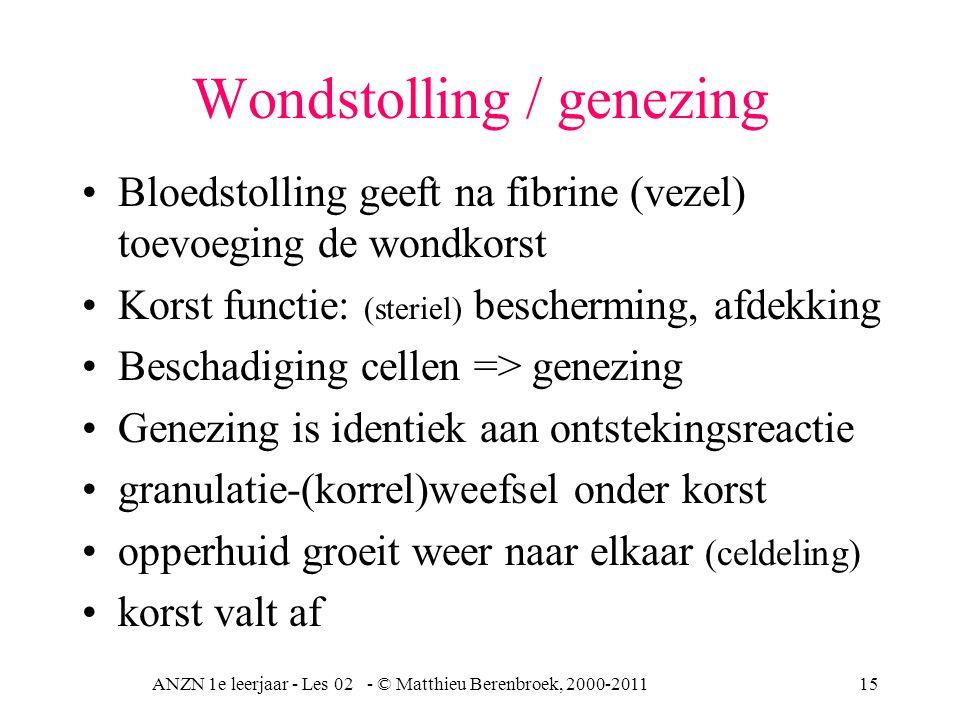 ANZN 1e leerjaar - Les 02 - © Matthieu Berenbroek, 2000-201115 Wondstolling / genezing Bloedstolling geeft na fibrine (vezel) toevoeging de wondkorst