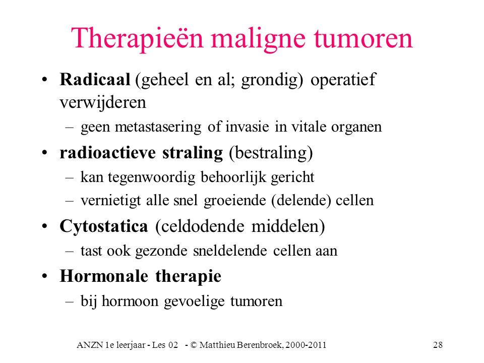 ANZN 1e leerjaar - Les 02 - © Matthieu Berenbroek, 2000-201128 Therapieën maligne tumoren Radicaal (geheel en al; grondig) operatief verwijderen –geen