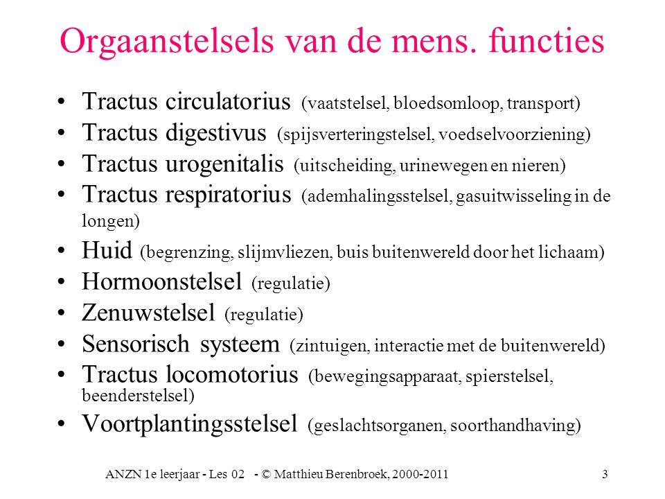 ANZN 1e leerjaar - Les 02 - © Matthieu Berenbroek, 2000-20114 Weefselsoorten Dekweefsels, epitheelweefsel, buitenkant dus bedekkingweefsel, klierweefsel en zintuigweefsel Steunweefsel typen bindweefsel, kraakbeenweefsel en botweefsel en bloed.
