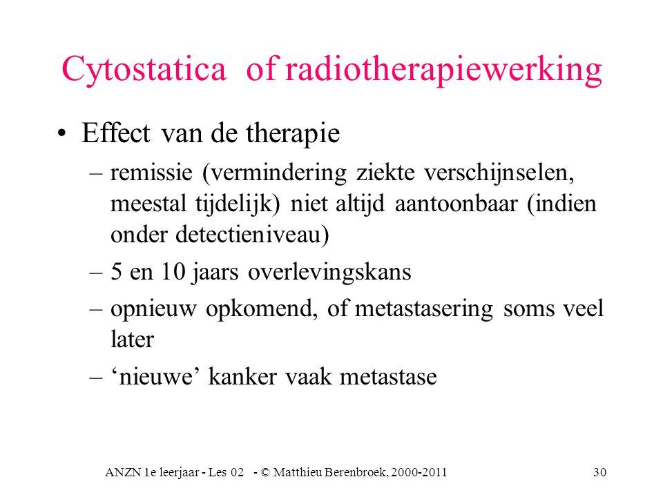 ANZN 1e leerjaar - Les 02 - © Matthieu Berenbroek, 2000-201130 Cytostatica of radiotherapiewerking Effect van de therapie –remissie (vermindering ziek