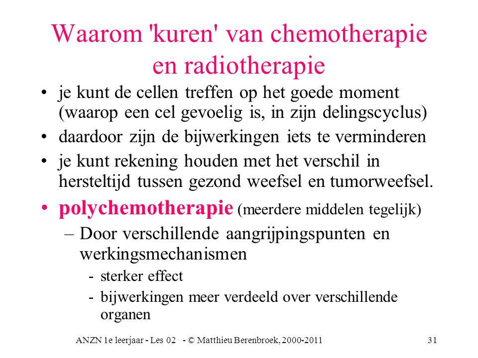 ANZN 1e leerjaar - Les 02 - © Matthieu Berenbroek, 2000-201131 Waarom 'kuren' van chemotherapie en radiotherapie je kunt de cellen treffen op het goed
