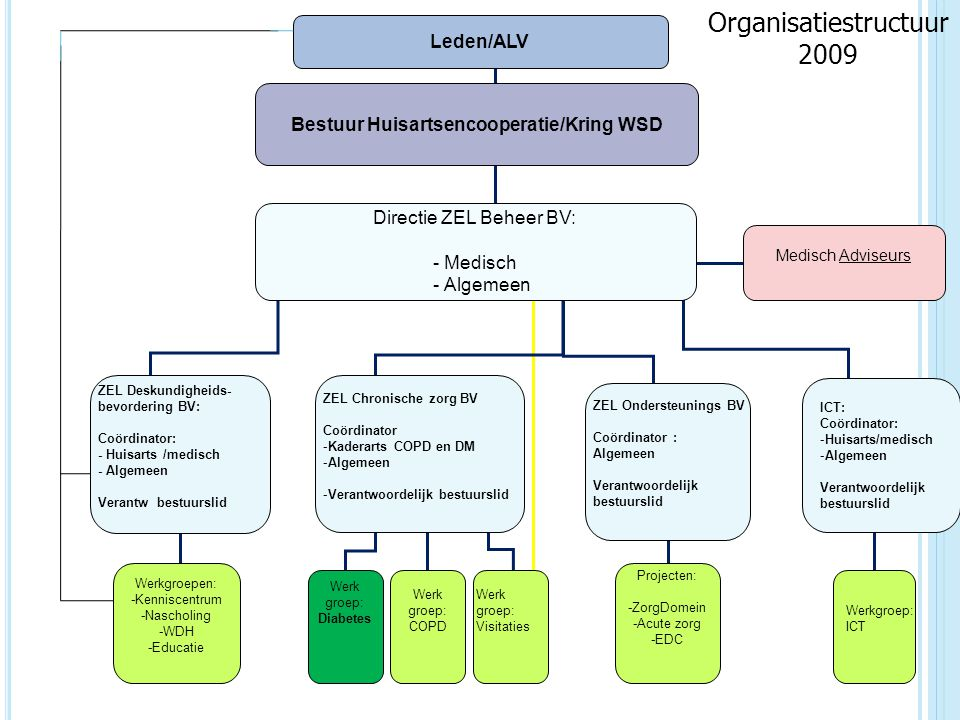 Bestuur Huisartsencooperatie/Kring WSD ZEL Chronische zorg BV Coördinator -Kaderarts COPD en DM -Algemeen -Verantwoordelijk bestuurslid ZEL Ondersteun