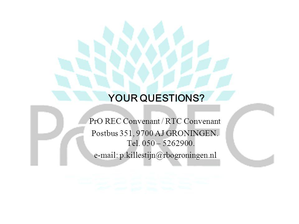 YOUR QUESTIONS. PrO REC Convenant / RTC Convenant Postbus 351, 9700 AJ GRONINGEN.