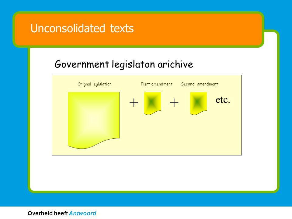 Overheid heeft Antwoord © © Unconsolidated texts Orignal legislationFisrt amendmentSecond amendment Government legislaton arichive ++ etc.