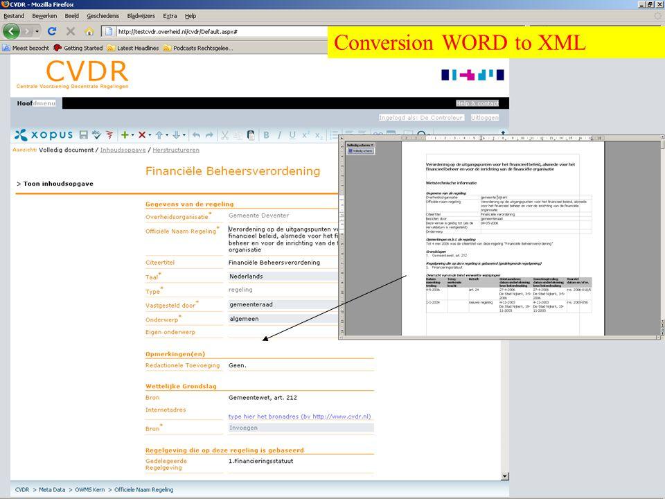 Overheid heeft Antwoord © © Conversion WORD to XML