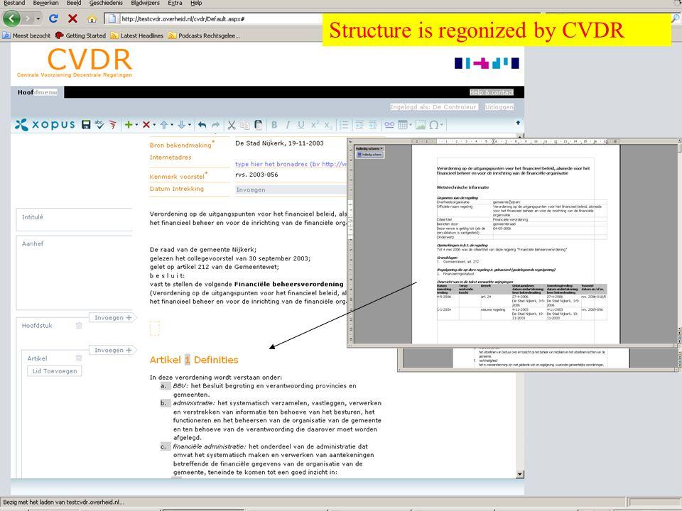 Overheid heeft Antwoord © © Structure is regonized by CVDR