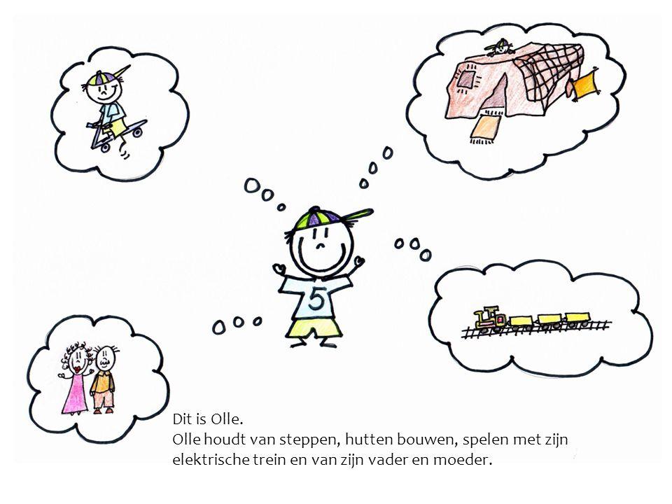 Dit is Olle. Olle houdt van steppen, hutten bouwen, spelen met zijn elektrische trein en van zijn vader en moeder.
