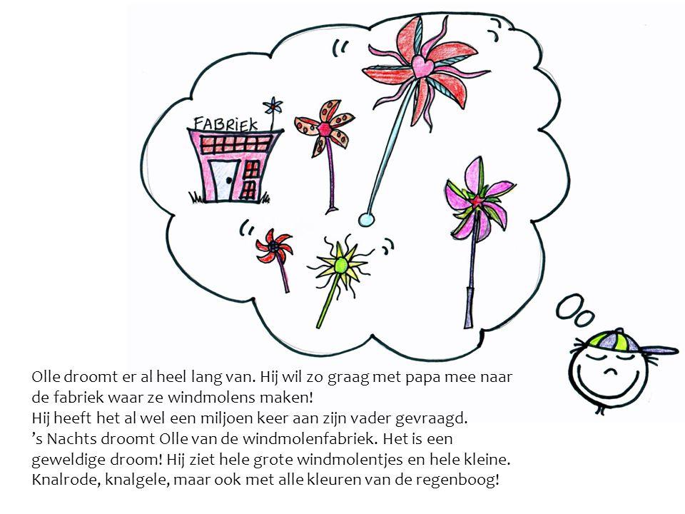 Olle droomt dat zijn vader steeds op een grote rode knop drukt en dat de windmolentjes uit een enorme paarse machine vliegen.
