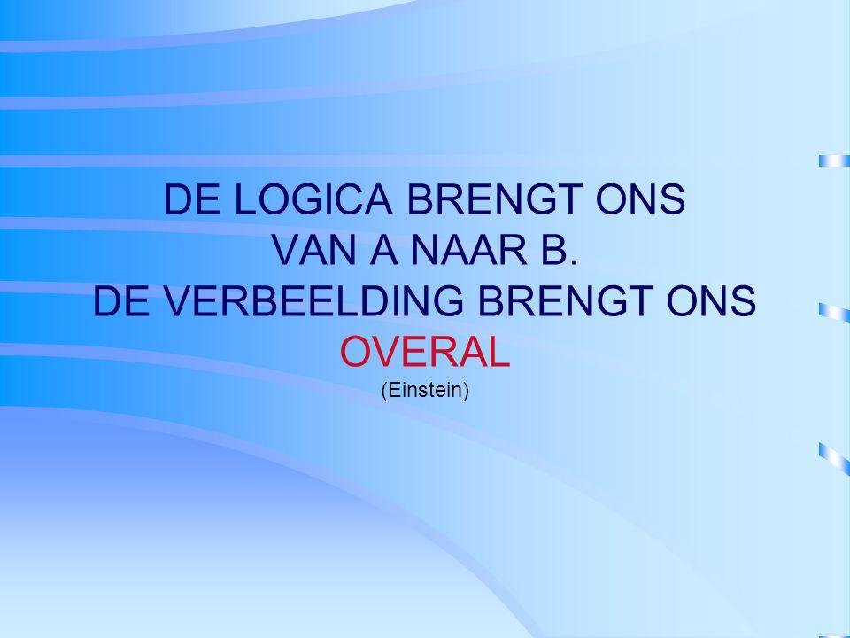 DE LOGICA BRENGT ONS VAN A NAAR B. DE VERBEELDING BRENGT ONS OVERAL (Einstein)
