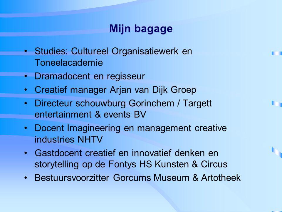 Mijn bagage Studies: Cultureel Organisatiewerk en Toneelacademie Dramadocent en regisseur Creatief manager Arjan van Dijk Groep Directeur schouwburg G
