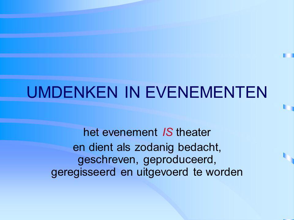 UMDENKEN IN EVENEMENTEN het evenement IS theater en dient als zodanig bedacht, geschreven, geproduceerd, geregisseerd en uitgevoerd te worden