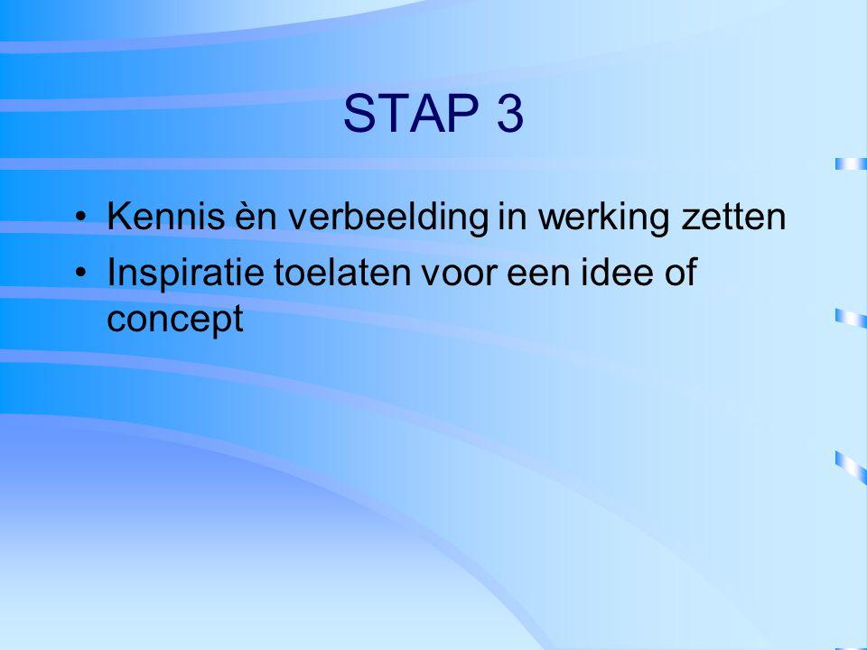 STAP 3 Kennis èn verbeelding in werking zetten Inspiratie toelaten voor een idee of concept