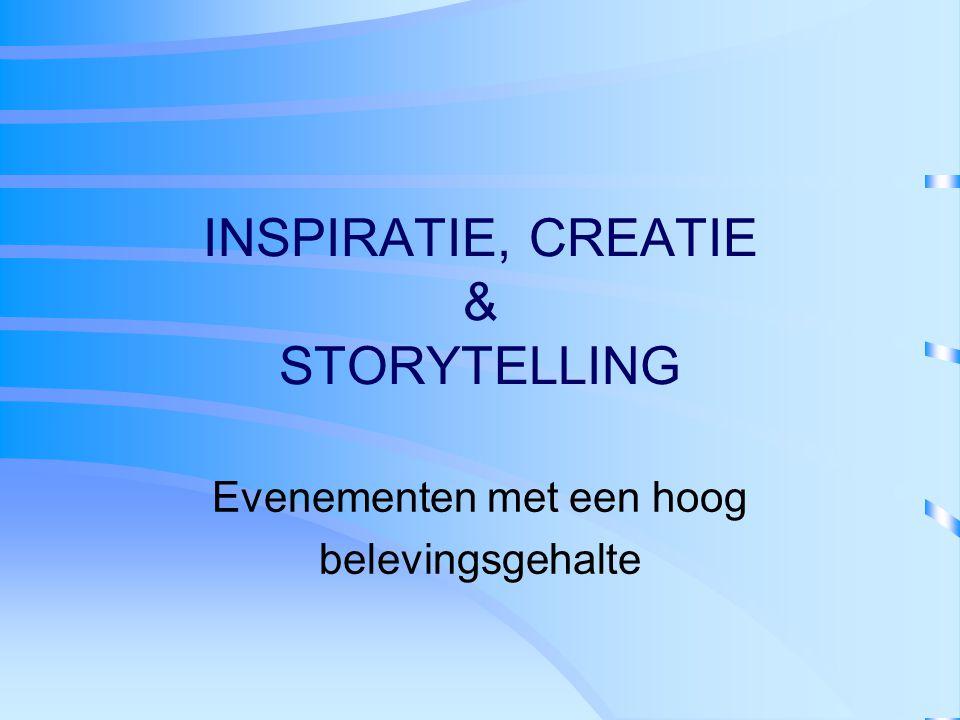 INSPIRATIE, CREATIE & STORYTELLING Evenementen met een hoog belevingsgehalte