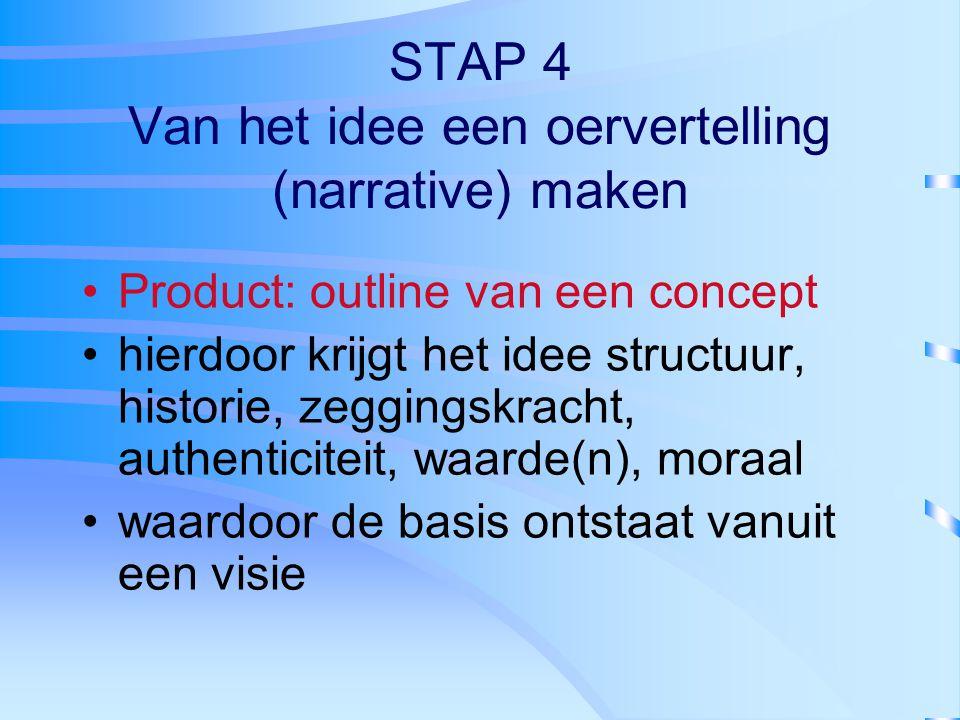 STAP 4 Van het idee een oervertelling (narrative) maken Product: outline van een concept hierdoor krijgt het idee structuur, historie, zeggingskracht,