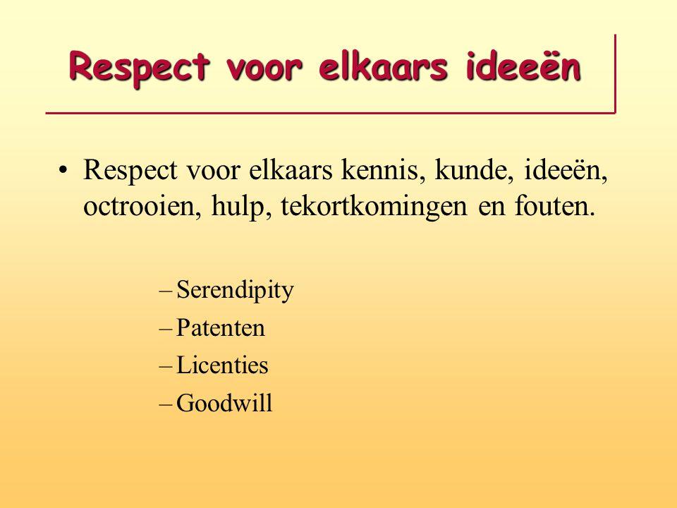 Respect voor elkaars ideeën Respect voor elkaars kennis, kunde, ideeën, octrooien, hulp, tekortkomingen en fouten. –Serendipity –Patenten –Licenties –