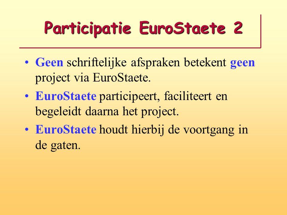 Participatie EuroStaete 2 Geen schriftelijke afspraken betekent geen project via EuroStaete. EuroStaete participeert, faciliteert en begeleidt daarna