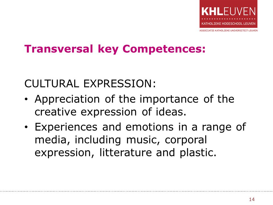 Transversal key Competences: CULTURAL EXPRESSION: Appreciation of the importance of the creative expression of ideas. Experiences and emotions in a ra