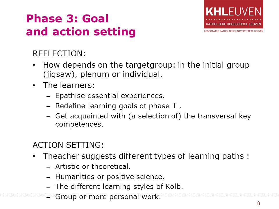 Phase 3: Goal and action setting REFLECTION: How depends on the targetgroup: in the initial group (jigsaw), plenum or individual. The learners: – Epat
