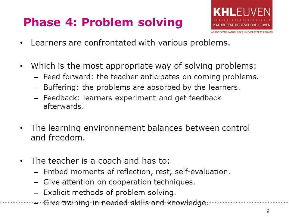 Phase 4: Problem solving Learners are confrontated with various problems. Which is the most appropriate way of solving problems: – Feed forward: the t