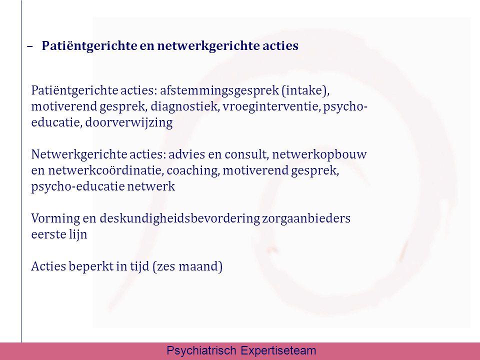 –Patiëntgerichte en netwerkgerichte acties Patiëntgerichte acties: afstemmingsgesprek (intake), motiverend gesprek, diagnostiek, vroeginterventie, psy