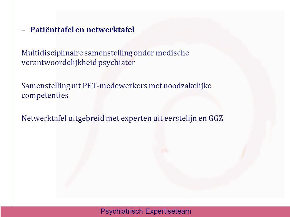 –Patiënttafel en netwerktafel Multidisciplinaire samenstelling onder medische verantwoordelijkheid psychiater Samenstelling uit PET-medewerkers met no