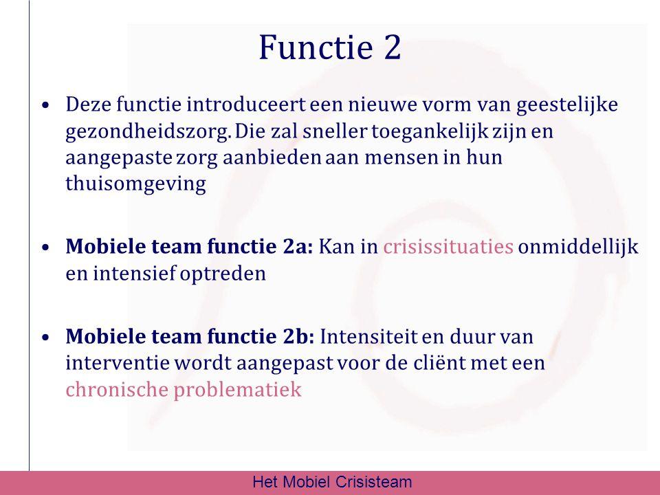 Functie 2 Deze functie introduceert een nieuwe vorm van geestelijke gezondheidszorg. Die zal sneller toegankelijk zijn en aangepaste zorg aanbieden aa