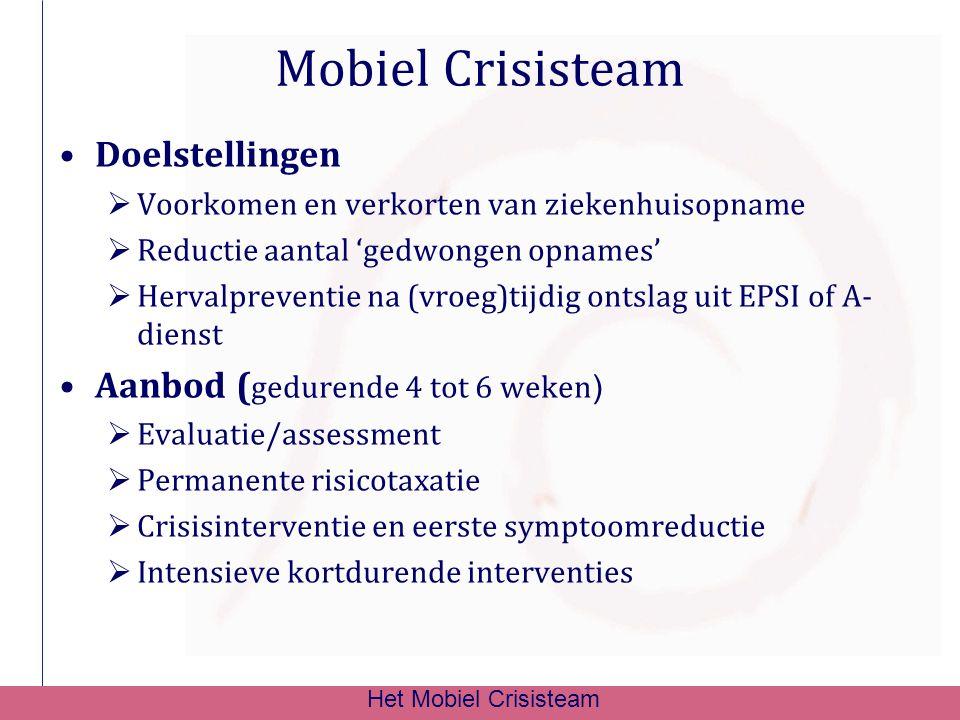 Mobiel Crisisteam Doelstellingen  Voorkomen en verkorten van ziekenhuisopname  Reductie aantal 'gedwongen opnames'  Hervalpreventie na (vroeg)tijdi