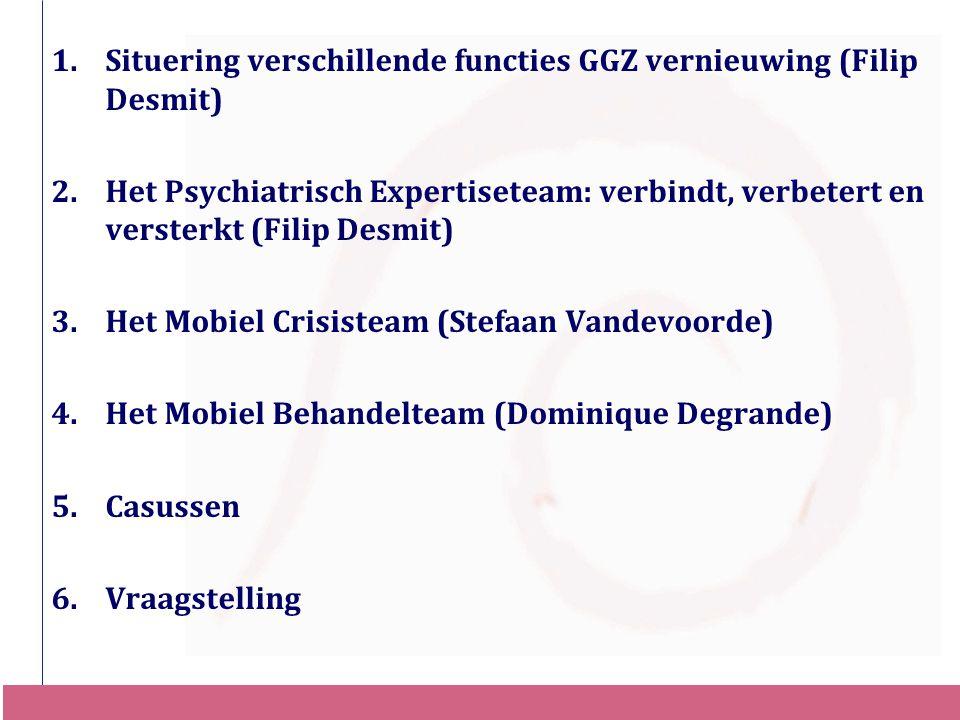 1.Situering verschillende functies GGZ vernieuwing (Filip Desmit) 2.Het Psychiatrisch Expertiseteam: verbindt, verbetert en versterkt (Filip Desmit) 3