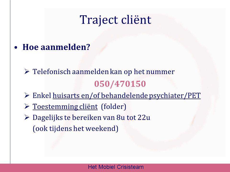 Traject cliënt Hoe aanmelden?  Telefonisch aanmelden kan op het nummer 050/470150  Enkel huisarts en/of behandelende psychiater/PET  Toestemming cl
