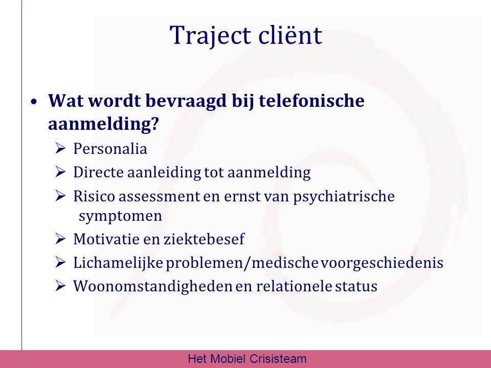 Traject cliënt Wat wordt bevraagd bij telefonische aanmelding?  Personalia  Directe aanleiding tot aanmelding  Risico assessment en ernst van psych