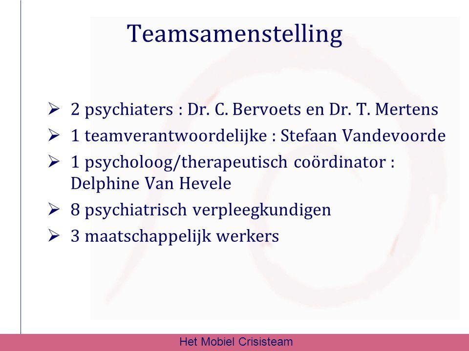 Teamsamenstelling  2 psychiaters : Dr. C. Bervoets en Dr. T. Mertens  1 teamverantwoordelijke : Stefaan Vandevoorde  1 psycholoog/therapeutisch coö
