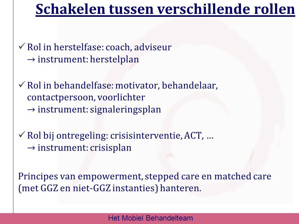Schakelen tussen verschillende rollen Rol in herstelfase: coach, adviseur → instrument: herstelplan Rol in behandelfase: motivator, behandelaar, conta