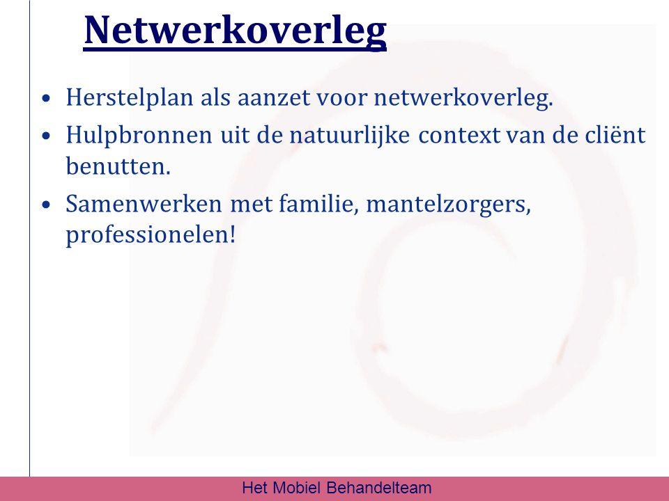 Netwerkoverleg Herstelplan als aanzet voor netwerkoverleg. Hulpbronnen uit de natuurlijke context van de cliënt benutten. Samenwerken met familie, man