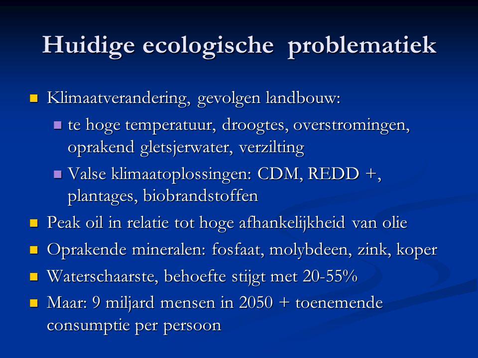 Huidige ecologische problematiek Klimaatverandering, gevolgen landbouw: Klimaatverandering, gevolgen landbouw: te hoge temperatuur, droogtes, overstro