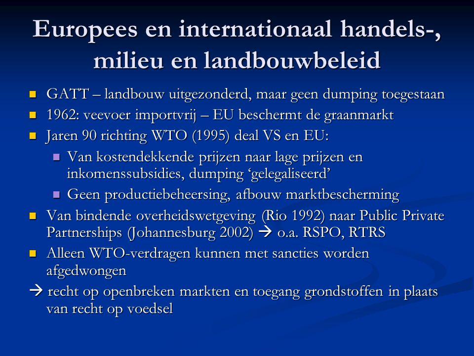 Europees en internationaal handels-, milieu en landbouwbeleid GATT – landbouw uitgezonderd, maar geen dumping toegestaan GATT – landbouw uitgezonderd,