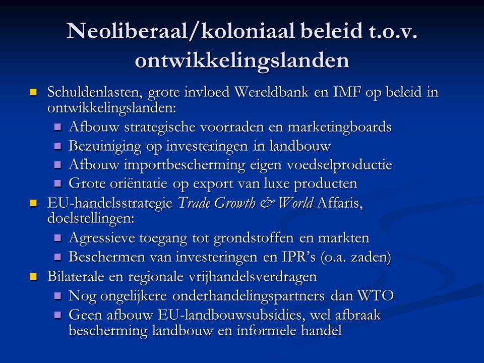 Neoliberaal/koloniaal beleid t.o.v. ontwikkelingslanden Schuldenlasten, grote invloed Wereldbank en IMF op beleid in ontwikkelingslanden: Schuldenlast