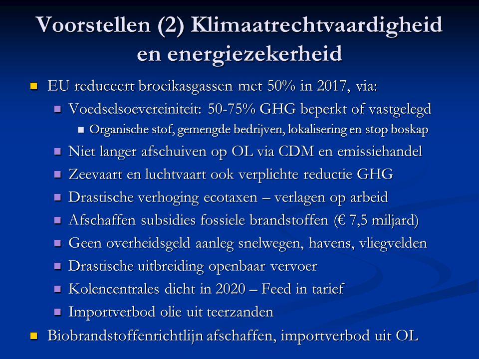 Voorstellen (2) Klimaatrechtvaardigheid en energiezekerheid EU reduceert broeikasgassen met 50% in 2017, via: EU reduceert broeikasgassen met 50% in 2